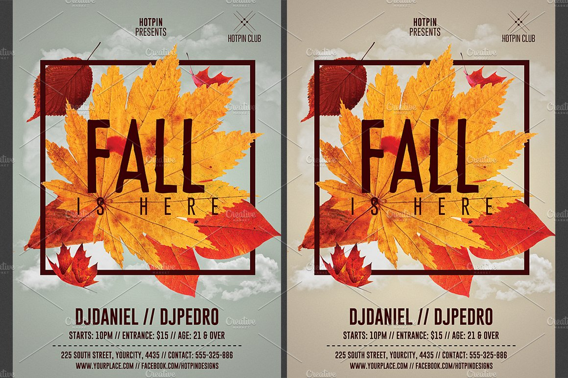 Fall Party Flyer Template Flyer Templates Creative Market