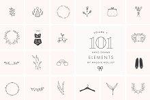 101 Hand Drawn Logo Elements EPS PSD