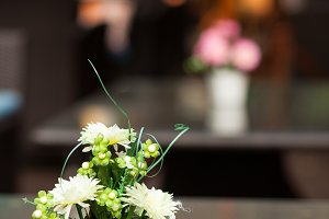 Vase of flowers.