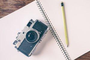 Vintage camera blank notebook