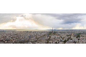 High Resolution Panorama Of Paris Skyline With Eiffel Tower