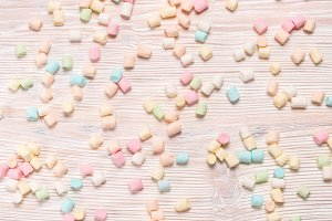marshmallows on  wooden background