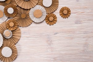 Rosettes on wooden background