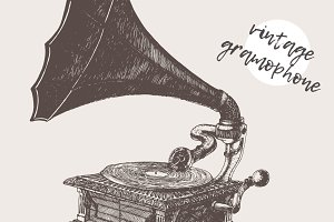 Illustration of a gramophone