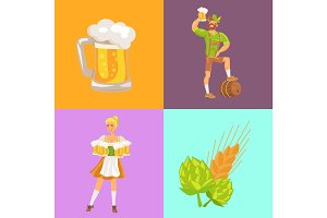 Beer and Symbols Oktoberfest Vector Illustration