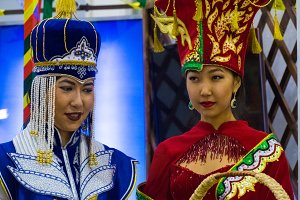 Girls - Kyrgyz in national costumes