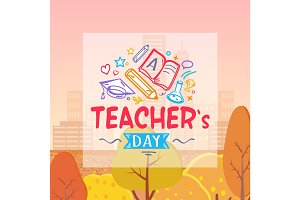 Teachers Day and Autumn on Vector Illustration