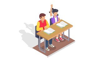 Two Students Boy and Girl Sit at Desk with Books