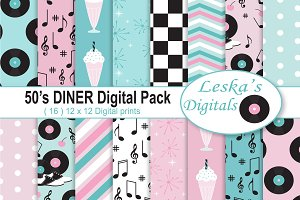 50s Diner Digital Paper Pack