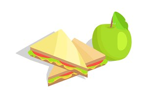 Triangular Sandwich with Lettuce and Green Apple