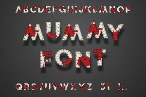 Mummy Bandage Font, Blood. Halloween