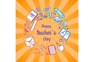 Happy Teacher's Day Poster with School Objects
