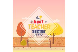 Best Teacher Ever Postcard Vector Illustration