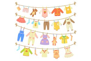 Baby Clothes Hanging on Rope Isolated Illustration