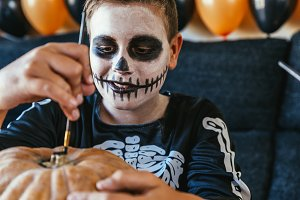 Portrait of boy disguised. Halloween