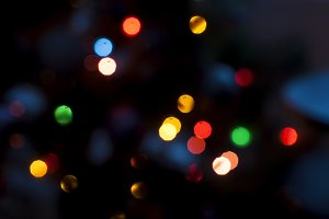 Christmas tree light bokeh blurred