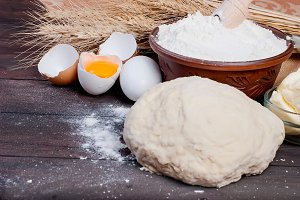 Flour, dough, egg, butter for baking