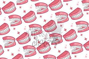 Dentures Seamless Pattern