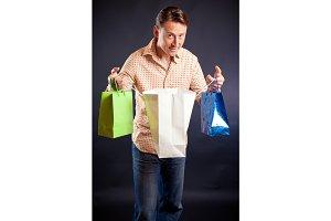 Young Man Enjoying His Shopping Spree