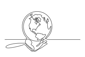 Globe of the Earth in human hands