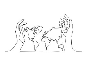 Map of the Earth in human hands