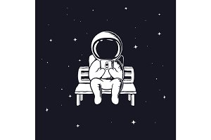 astronaut with mobile phone