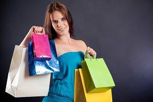 Young Woman Enjoying Her Shopping Spree