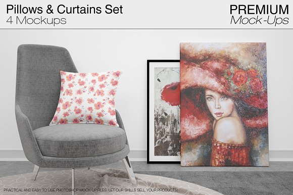 Pillows & Curtains Set-Graphicriver中文最全的素材分享平台