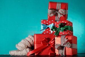 Christmas gifts red blue closeup
