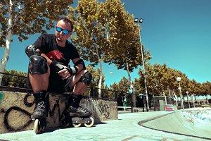 Men wearing inline roller skates