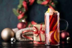 Hot Christmas mulled red wine glass