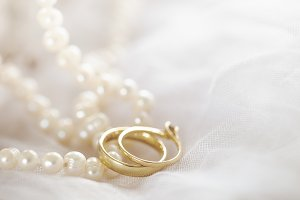 Engagement rings in close-up