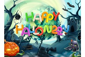 Happy Halloween. Vector background