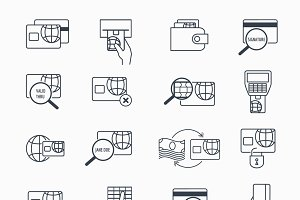 Debit and credit card payment icons
