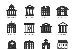 Government building icon set