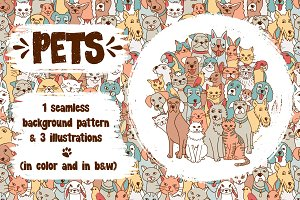 Pets - Seamless Pattern & 3 Drawings
