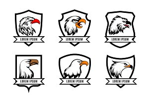 Eagle heads with shields logo set