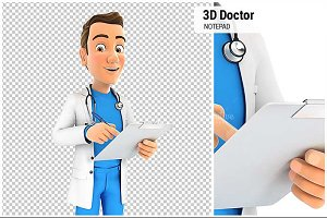 3D Doctor Writing on Notepad