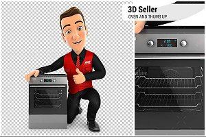 3D Seller with Oven and Thumb Up