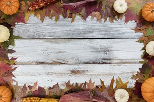 Thanksgiving Border on old wood