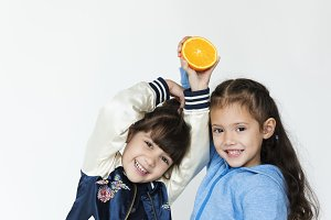 Kids and orange