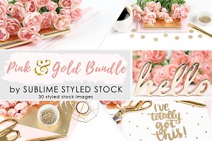 Bundle ~ Pink and Gold, bundle of 30