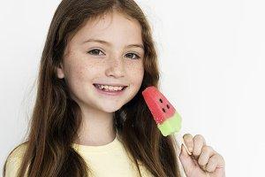 Young cheerful caucasian girl