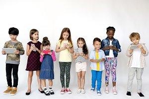 Kids using mobile phones