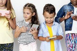 Kids using mobile phones