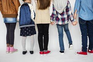 Rear view of diverse kids