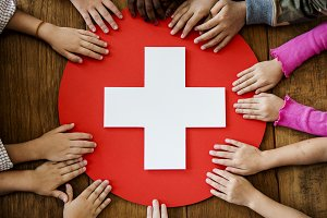 Red cross first aid symbol