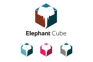Elephant Inside a Cube Box Logo