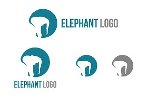 Elephant Logo in Abstract Style