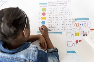 Kids doing worksheets